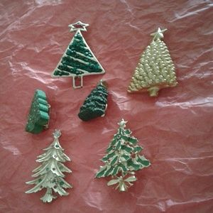 Jewelry - Lot of 6 christmas tree pins